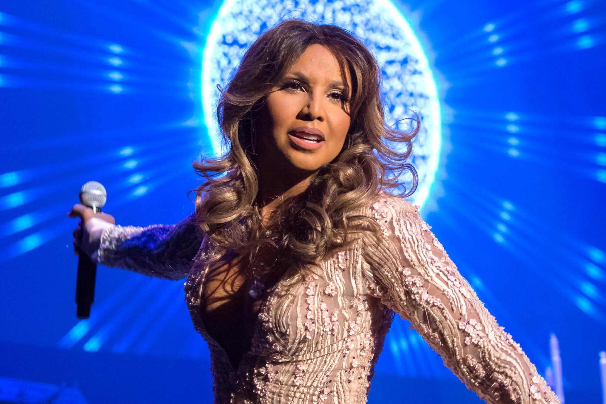 Toni Braxton Looked Stunning In Her NYE White Gown – See Her Photo